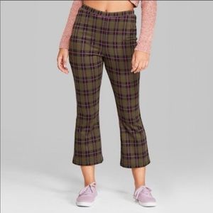 Wild Fable Green & Pink Plaid Cropped Pants Medium